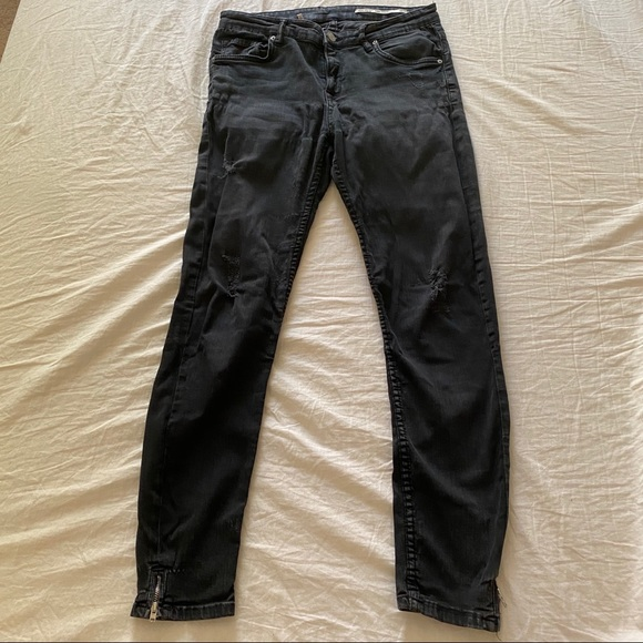 Zara Denim - Faded Black Distressed Zara Skinny Jeans 6